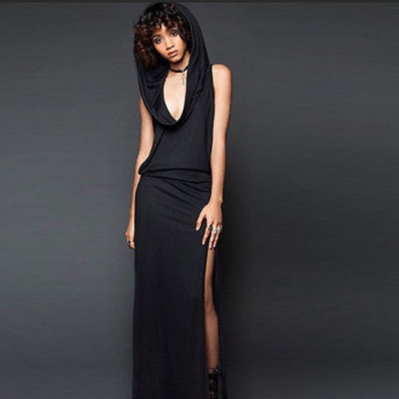 Dresses Black Hooded Maxi Dress High Slits Cowl Neck Hood Poshmark